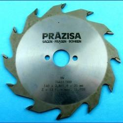 PRÄZISA Jännsch Hartmetall-Kreissägeblatt Type F Flachzahn grob – Ø 140 mm, Bohrung 20 mm