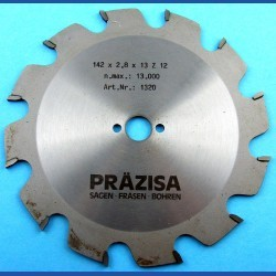 PRÄZISA Jännsch Hartmetall-Kreissägeblatt Type F Flachzahn grob – Ø 142 mm, Bohrung 13 mm