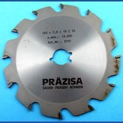 PRÄZISA Jännsch Hartmetall-Kreissägeblatt Type F Flachzahn grob – Ø 143 mm, Bohrung 19 mm (3/4'')