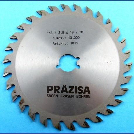 PRÄZISA Jännsch Hartmetall-Kreissägeblatt Type W Wechselzahn mittel – Ø 143 mm, Bohrung 19 mm (3/4'')