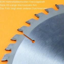EDN Hartmetallbestücktes Kreissägeblatt Serie 05 orange Wechselzahn fein extra dünn für Akkusägen – Ø 165 mm, Bohrung 20 mm