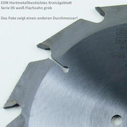 EDN Hartmetallbestücktes Kreissägeblatt Serie 05 weiß Flachzahn grob – Ø 125 mm, Bohrung 20 mm