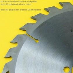 EDN Hartmetallbestücktes Kreissägeblatt Serie 05 gelb Wechselzahn mittelgrob extra dünn für Akkusägen – Ø 165 mm, Bohrung 20 mm