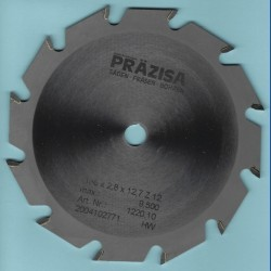 PRÄZISA Jännsch Hartmetall-Kreissägeblatt Type F Flachzahn grob – Ø 156 mm, Bohrung 12,7 mm (1/2'')