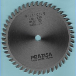 PRÄZISA Jännsch Hartmetall-Kreissägeblatt Type WH Wechselzahn fein – Ø 156 mm, Bohrung 12,7 mm (1/2'')