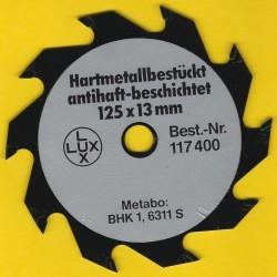 LUX Handkreissägeblatt hartmetallbestückt antihaft-beschichtet Flachzahn grob – Ø 125 mm, Bohrung 13 mm