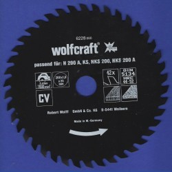 wolfcraft Serie rot Handkreissägeblatt CV mit Antihaft-Beschichtung grob – Ø 200 mm, Bohrung 25 mm