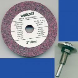wolfcraft Mischkorund-Schleifstein grob – mit Adapter für die Bohrmaschine