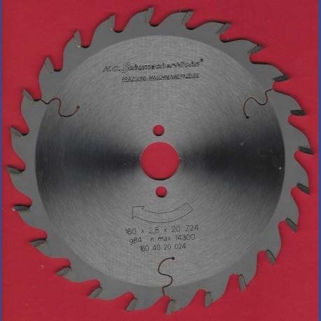 H.O. Schumacher+Sohn Hartmetallbestücktes Präzisions-Kreissägeblatt Mittelzahn – Ø 160 mm, Bohrung 20 mm