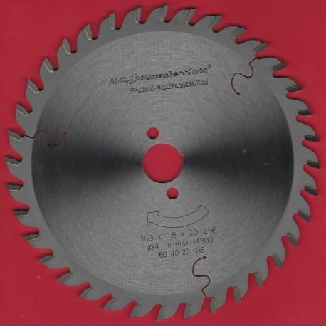 H.O. Schumacher+Sohn Hartmetallbestücktes Präzisions-Kreissägeblatt Feinzahn – Ø 160 mm, Bohrung 20 mm