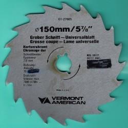PRÄZISA Jännsch Chrom-Vanadium-Kreissägeblatt Type A Wolfszahn grob antihaftbeschichtet – Ø 150 mm, Bohrung 19 mm (3/4'')