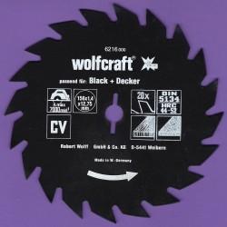 wolfcraft Serie rot Handkreissägeblatt CV mit Antihaft-Beschichtung grob – Ø 156 mm, Bohrung 12,75 mm (1/2'')