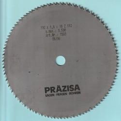 PRÄZISA Jännsch Chrom-Vanadium Kreissägeblatt Type B Feinstzahn – Ø 190 mm, Bohrung 16 mm