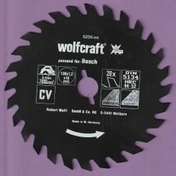 wolfcraft Serie rot Handkreissägeblatt CV mit Antihaft-Beschichtung grob – Ø 130 mm, Bohrung 16 mm