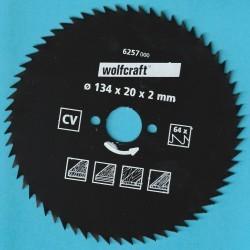 wolfcraft Serie blau Handkreissägeblatt CV mit Antihaft-Beschichtung sehr fein – Ø 134 mm, Bohrung 20 mm