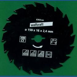 wolfcraft Serie grün Handkreissägeblatt HM Wechselzahn antihaftbeschichtet – Ø 150 mm, Bohrung 16 mm