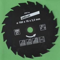 wolfcraft Serie grün Handkreissägeblatt HM Wechselzahn antihaftbeschichtet – Ø 160 mm, Bohrung 16 mm