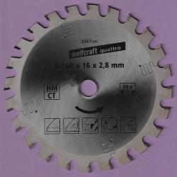 wolfcraft quattro Hartmetallbestücktes Universal-Kreissägeblatt – Ø 160 mm, Bohrung 16 mm