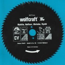 wolfcraft Serie blau Handkreissägeblatt CV mit Antihaft-Beschichtung sehr fein – Ø 180 mm, Bohrung 20 mm