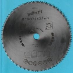 wolfcraft Serie blau Handkreissägeblatt CV extra fein – Ø 190 mm, Bohrung 16 mm