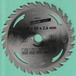 wolfcraft WIZARD Serie silber Handkreissägeblatt HM Flach-Hohlzahn – Ø 190 mm, Bohrung 20 mm