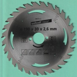 wolfcraft WIZARD Serie silber Handkreissägeblatt HM Flach-Hohlzahn – Ø 190 mm, Bohrung 30 mm