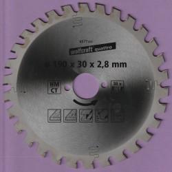 wolfcraft quattro Serie lila Hartmetallbestücktes Universal-Kreissägeblatt – Ø 190 mm, Bohrung 30 mm