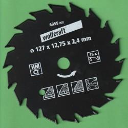 wolfcraft Serie grün Handkreissägeblatt HM Wechselzahn antihaftbeschichtet – Ø 127 mm (5''), Bohrung 12,7 mm (1/2'')