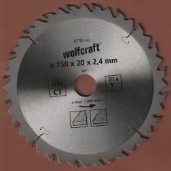 wolfcraft Serie braun Zuschnittsägeblatt HM Wechselzahn – Ø 150 mm, Bohrung 20 mm