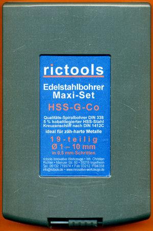 rictools Edelstahlbohrer HSS-G-Co Maxi-Set in der RoseBox
