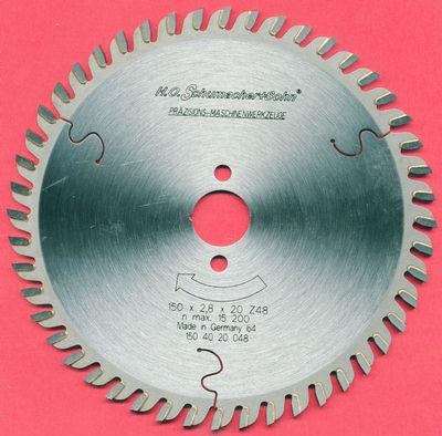H.O. Schumacher+Sohn Hartmetallbestücktes Präzisions-Kreissägeblatt Feinstzahn Ø 150 mm, Bohrung 20 mm