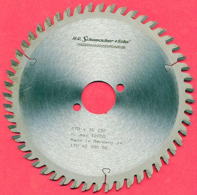 H.O. Schumacher+Sohn Hartmetallbestücktes Präzisions-Kreissägeblatt Feinstzahn Ø 170 mm, Bohrung 30 mm