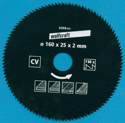 wolfcraft Serie blau Handkreissägeblatt CV mit Antihaft-Beschichtung Ø 160 mm, Bohrung 25 mm