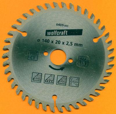 wolfcraft Serie orange Handkreissägeblatt HM Viel-Wechselzahn Ø 140 mm, Bohrung 20 mm