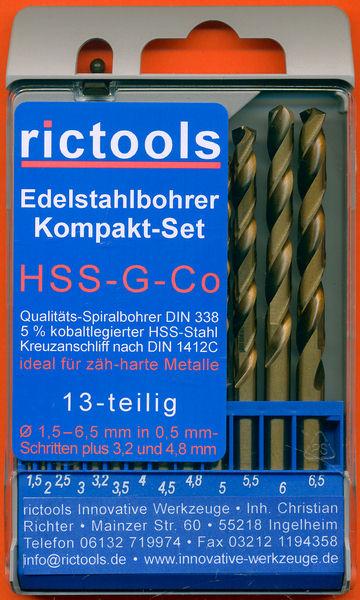 rictools Edelstahlbohrer Kompakt-Set